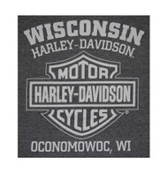 Harley-Davidson® Men's Winged Skull Engine Short Sleeve T-Shirt, Charcoal Gray