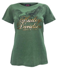 Harley-Davidson® Women's Soar Eagle Foil H-D Script Short Sleeve Tee, Green