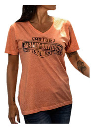 Harley-Davidson® Women's Foiled Bar & Shield V-Neck Short Sleeve Tee, Coral