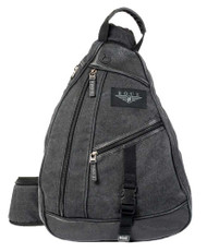 ROUT Voyager Sling Backpack, Washed Cotton Canvas & Leather Trim, Black RC10561