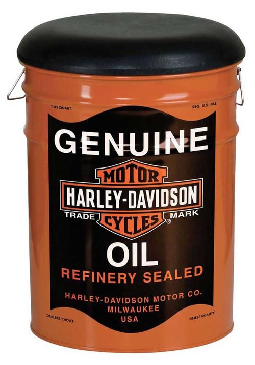 harley davidson genuine oil can bucket stool steel barrel 13 gal rh wisconsinharley com harley davidson bucket helmet harley davidson bucket and glasses