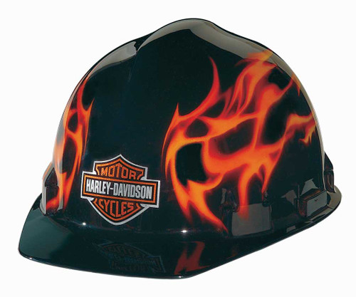 Harley-Davidson® Flames Bar & Shield Logo Safety Hard Hat, Gloss Black HDHHAT10