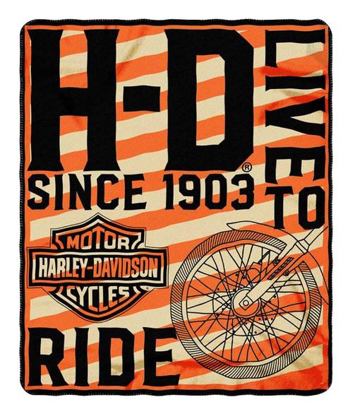 Harley-Davidson® Belief Bar & Shield Fleece Throw Blanket, Orange/Black NW079915 - Wisconsin Harley-Davidson