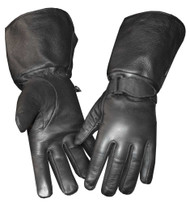 Redline Men's Gauntlet Fleece Gator Lining Leather Gloves, Black G-053GS