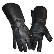 Redline Men's Gauntlet Style Soft Fleece Lining Leather Gloves, Black G-053