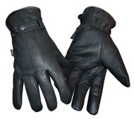 Redline Men's Soft Fleece Gator Lining Full-Finger Leather Gloves, Black G-052GS