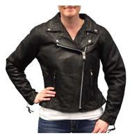 Redline Women's Mid-Weight Goat Leather Motorcycle Jacket, Black L-3150