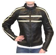 Redline Women's Naked Goat Skin Striped Racing Jacket, Black & White L-2402