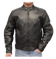 Redline Men's Cowhide Leather Reflective Piping Jacket, Black & White M-TOURING