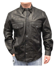 Redline Men's Lightweight Snap Down Collar Leather Riding Shirt, Black M-1800
