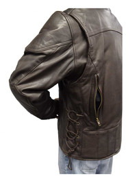 Redline Men's Leather Touring Side-Lace Motorcycle Jacket, Brown M-400-BROWN