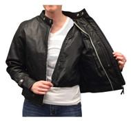Redline Women's Goat Skin Leather Scooter Motorcycle Jacket, Black L-3000