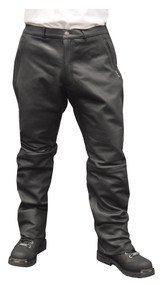 Redline Men's Black Side Angle Zip Pockets Leather Motorcycle Lined Pants M-1550