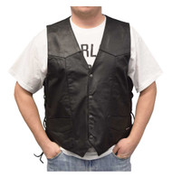 Redline Leather Men's Buffalo Milled Leather Motorcycle Vest, Black M-125