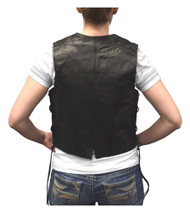Redline Leather Women's Side Lace Goat Leather Motorcycle Vest, Black L-11
