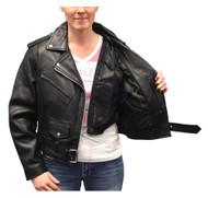 Redline Women's Angled Zipper Goat Leather Motorcycle Jacket, Black L-3300