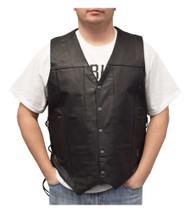Redline Leather Men's Buffalo Leather 10 Pocket Motorcycle Vest, Black M-2240