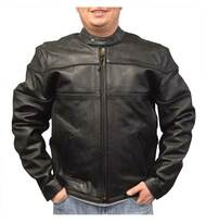 Redline Men's Cowhide Leather Motorcycle Jacket w/ Thinsulate Liner, Black M-100