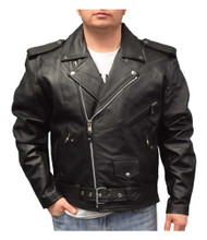 Redline Men's Mid-Weight Buffalo Lace Leather Motorcycle Jacket, Black M-700