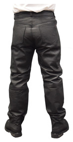 Redline Mens Classic Black Easy Fit Leather Motorcycle Fully Lined Pants M-1500