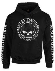 Harley-Davidson® Men's Hand Made Willie G Skull Pullover Hooded Sweatshirt, Black