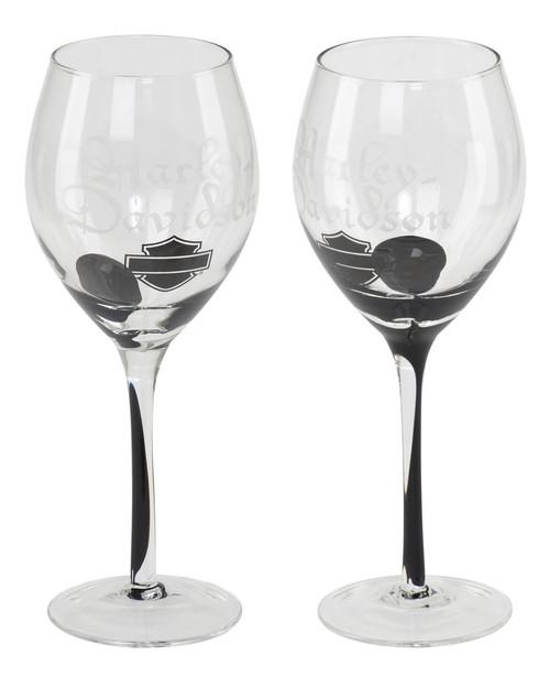 Harley-Davidson® Silhouette Bar & Shield Wine Glass Set, 12 oz. HDL