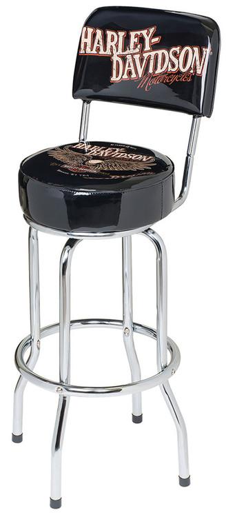 Harley-Davidson® Bar & Shield Eagle Bar Stool W/ Backrest, Black HDL-12211 - Wisconsin Harley-Davidson
