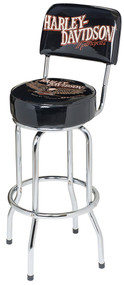 Harley-Davidson® Bar & Shield Eagle Bar Stool W/ Backrest, Black HDL-12211 - Wisconsin Harley-Davidson