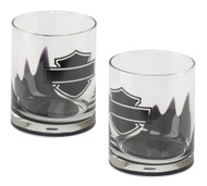 Harley-Davidson® Silhouette Bar & Shield Tumbler Set, Two 12 oz. Glass HDL-18766