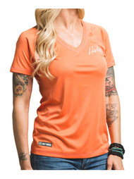 Harley-Davidson® Womens Performance Vital Force Short Sleeve Tee, Coral H626-HB7V