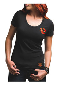 Harley-Davidson® Women's Winged Cruiser Cut-Out Short Sleeve Tee, Black H629-HB7X