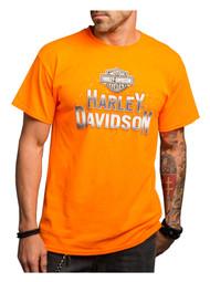 Harley-Davidson® Men's Tied In Knots Short Sleeve Tee, Safety Orange 5Q11-HE19