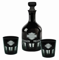 Harley-Davidson® Silhouette Bar & Shield Decanter Set, Midnight Black HDL-18765 - Wisconsin Harley-Davidson