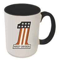 Harley-Davidson® #1 RWB Logo Coffee Mug, 15 oz White w/ Black Inside HD-HNO-1772B