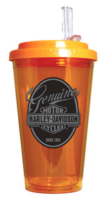 Harley-Davidson® Genuine Bar & Shield On The Go Lid Drinkware, Orange HD-GEN-1745