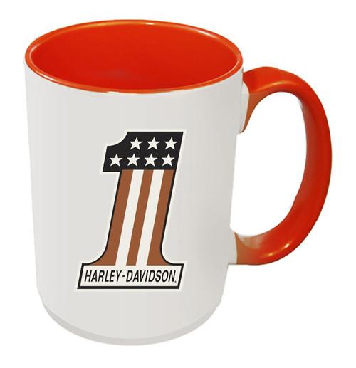 Harley-Davidson® #1 RWB Logo Coffee Mug, 15 oz White & Orange Inside HD-HNO-1772O