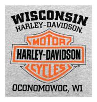 Harley-Davidson® Mens Bar & Shield Long Sleeve Crew Neck Fleece Sweatshirt, Gray - Wisconsin Harley-Davidson