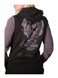 Harley-Davidson® Women's Genuine Eagle Sleeveless Full-Zip Hoodie, Black