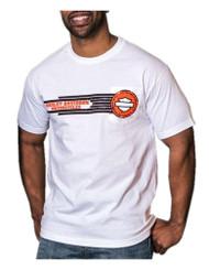 Harley-Davidson® Mens Tread Bar & Shield Short Sleeve Chest Pocket T-Shirt, White