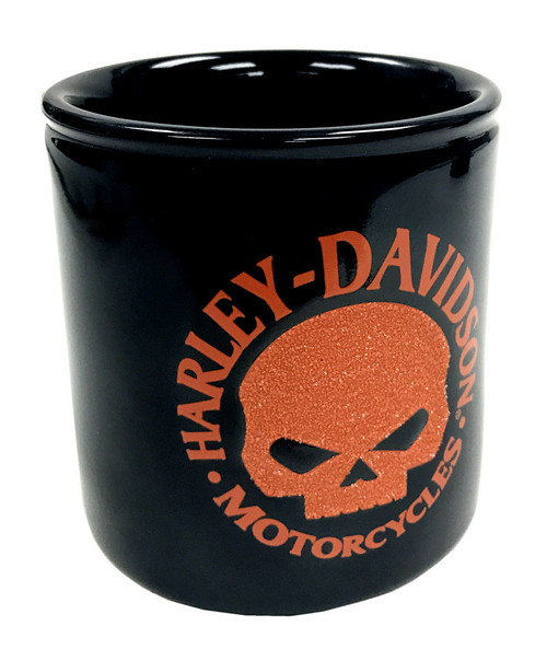 Harley-Davidson® Beaded Willie G Skull Ceramic Cup, Orange & Black HD-HD-1439
