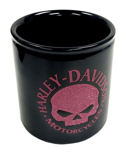 Harley-Davidson® Beaded Willie G Skull Ceramic Cup, Pink & Black HD-HD-1440