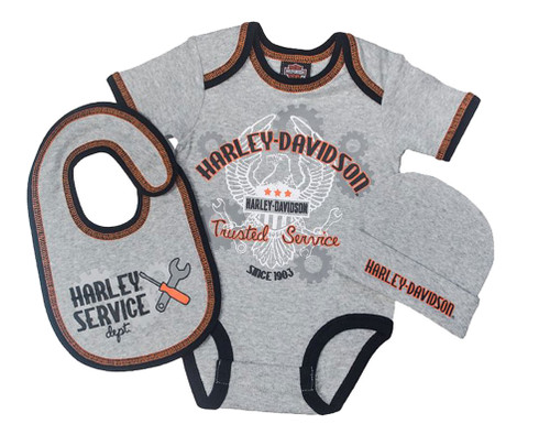 Harley-Davidson® Baby Boys' Newborn Eagle 3 Piece Gift Box Set, Gray 2551661