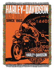 Harley-Davidson® Old Times Woven Tapestry Throw Blanket, 48 x 60 Inches NW720206