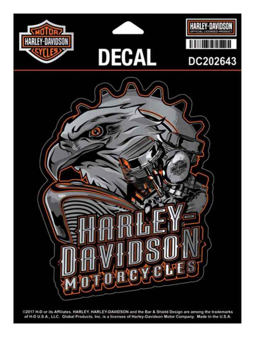 Harley-Davidson® Eagle Engine Ultra Decal, Chrome MD Size 4.375 x 5.5 in DC202643