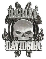 Harley-Davidson® Vicious Willie G Skull 3D Die Cast Pin, Nickel Finishes P639753
