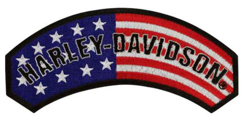 Harley-Davidson® Embroidered American Flag Rocker Emblem, 5 x 2.25 inch EM080842
