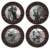 Harley-Davidson® Vintage Riders Thin Neoprene Coaster Set, 4 Pack, 4 inch CS19030