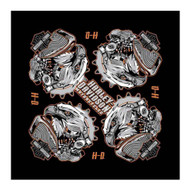Harley-Davidson® Men's Eagle Engine B&S Bandana, Black, 24 x 24 inch BA20264