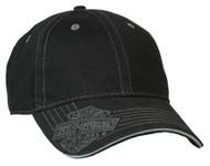 Harley-Davidson® Men's Woven Bar & Shield Logo Baseball Cap, Solid Black BCC30230