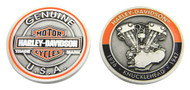 Harley-Davidson® Knucklehead Bar & Shield Challenge Coin, 1.75 in Coin 8007089 - Wisconsin Harley-Davidson